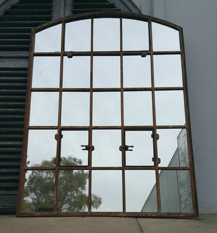 Dutch Iron 25 Pane Arched Factory Window Mirror