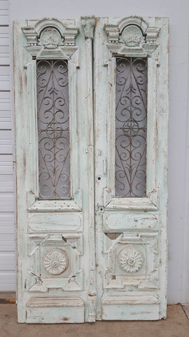Pair of Painted Wood Doors with Iron Inserts