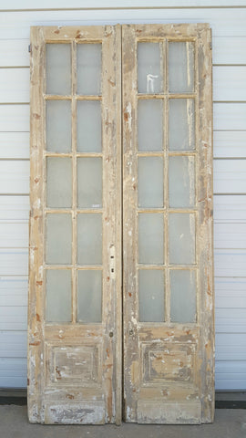 Pair of 10 Lite Distressed French Doors