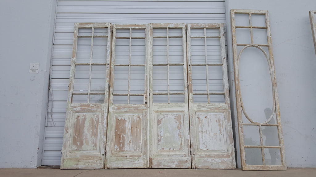 Set Of 4 French Doors With Transom Big Oval Pane Antiquities