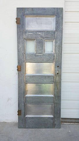 Galvanized Fire Door with 2 Small Chicken Wire Glass Windows & All Doors \u0026 Shutters \u2013 Antiquities Warehouse
