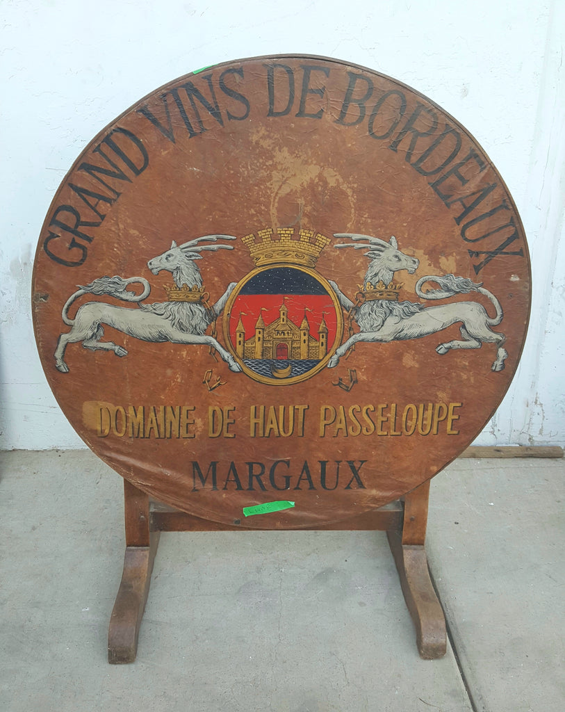 Round Wine Table, Painted Saint Emilion Grand Curano with Crest, c.1890