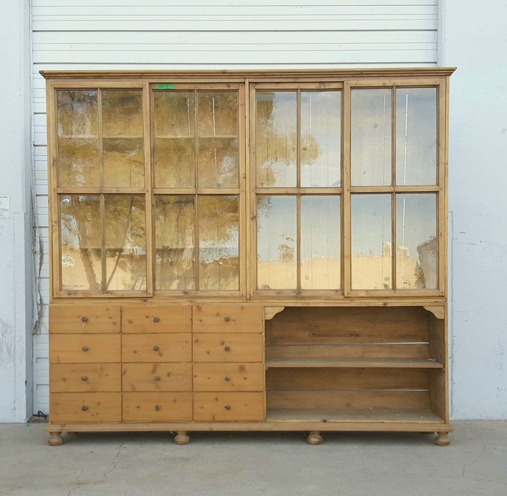 Wooden Bookcase with Sliding Glass Doors and 12 Drawers