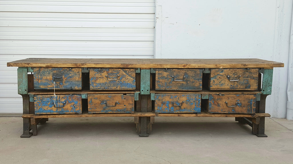 Painted Worktable with 8 Drawers, c.1910 France