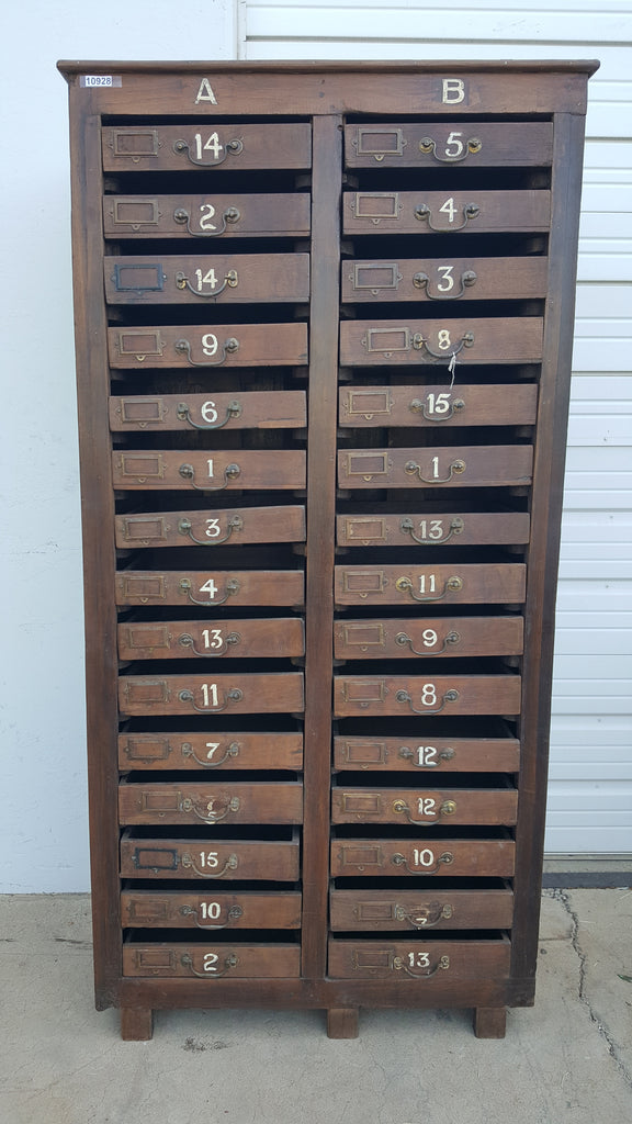 Wood Chest with Numbered Drawers
