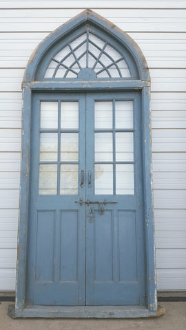 Pair of 2 Panel 6 Lite Blue Doors with Spiderweb Transom