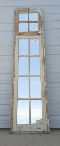 12 Pane Repurposed Wood Mirror with Transom