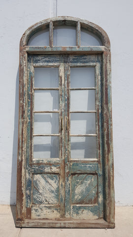 Pair of 4 Lite Framed Distressed Wood Doors with 3 Lite Arched Transom