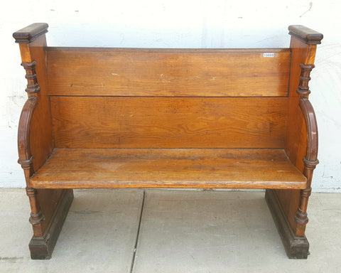 Church Pew, Light Brown Trimmed in Dark Brown