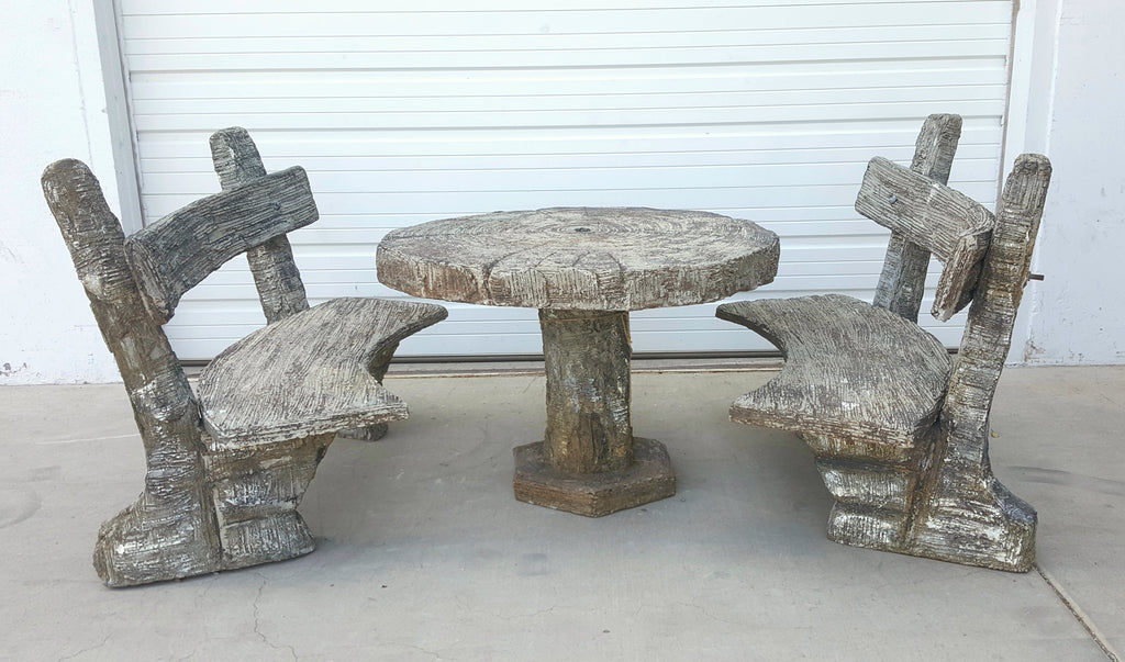 Round Stone Garden Table with 2 Benches