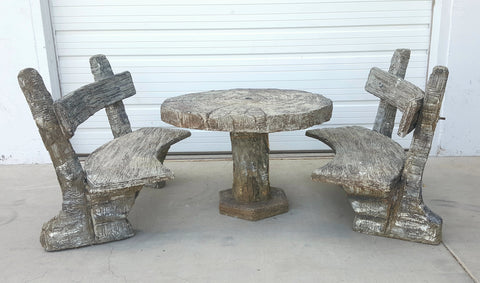 Round Stone Garden Table With 2 Benches – Antiquities Warehouse