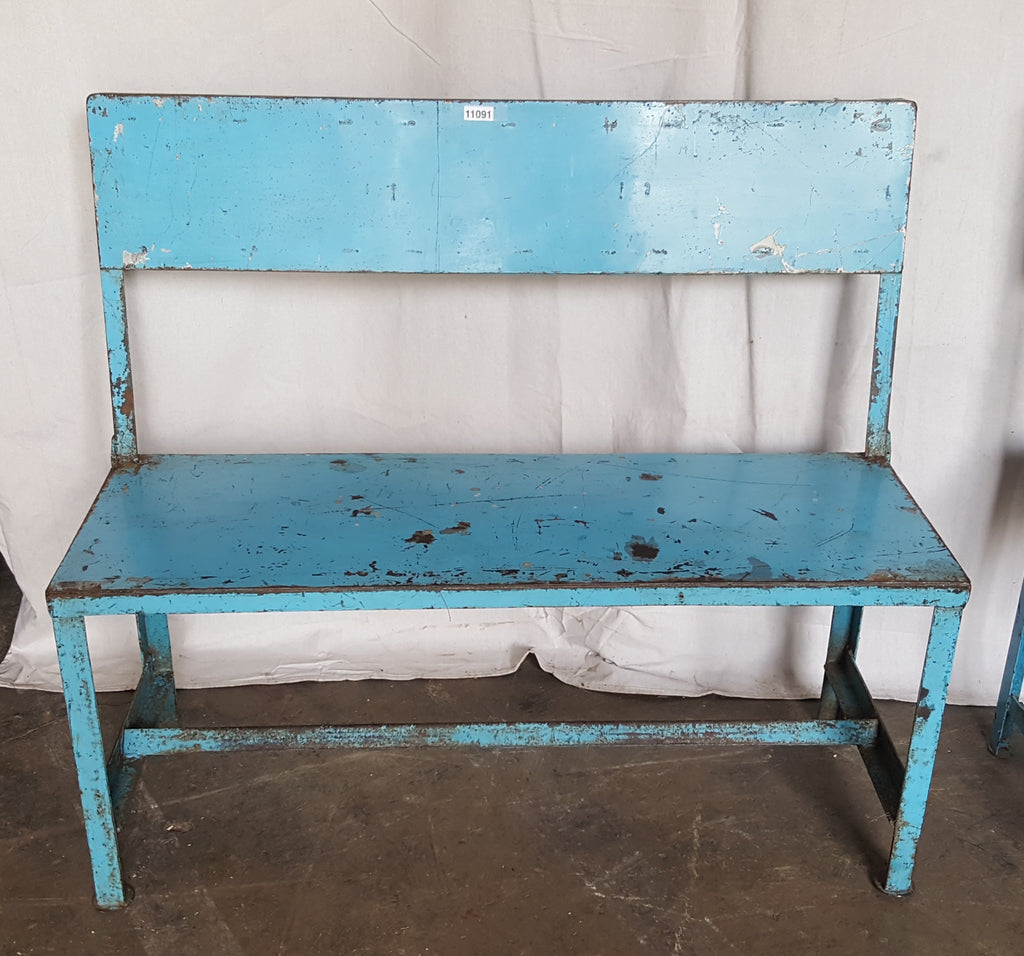 Blue Metal Bench