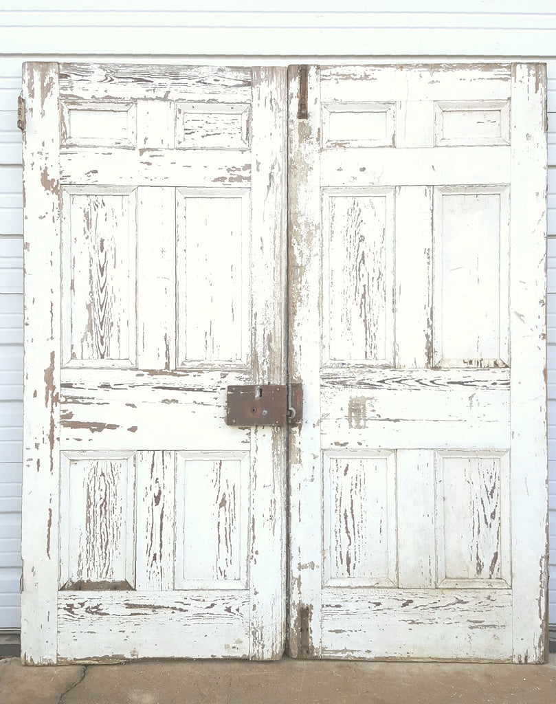 Pair of White Wooden 6 Panel Doors