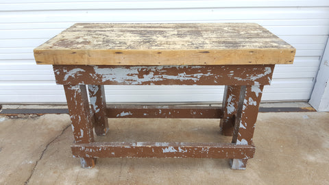 Distressed Butcher Block Island Work Table