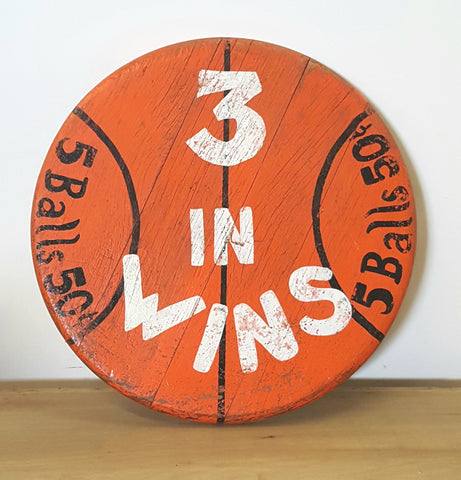 """3 In Wins"" Carnival Game Wooden Sign"