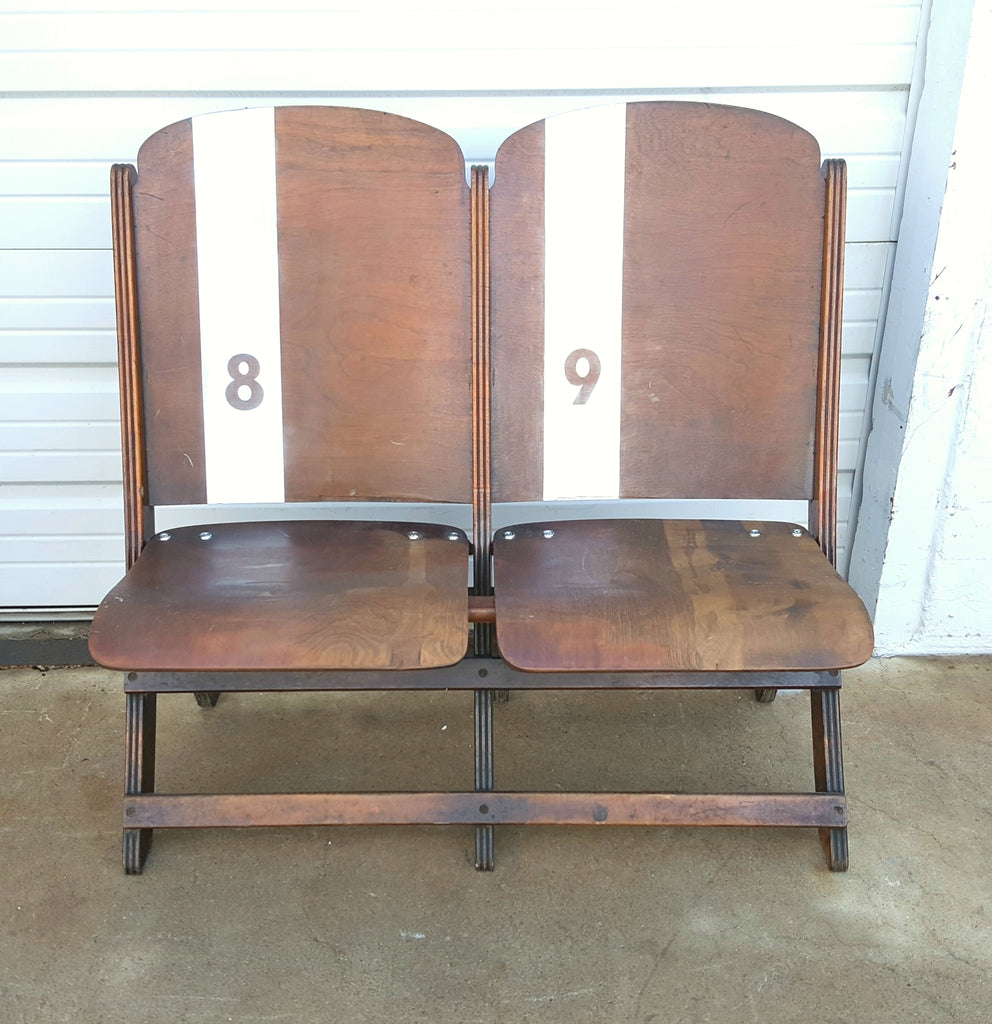 Pair of Vintage Wooden Theater Seats