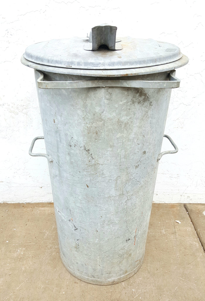 Large Zinc Garbage Can with Lid