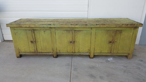Distressed Green Wooden Sideboard Island Table