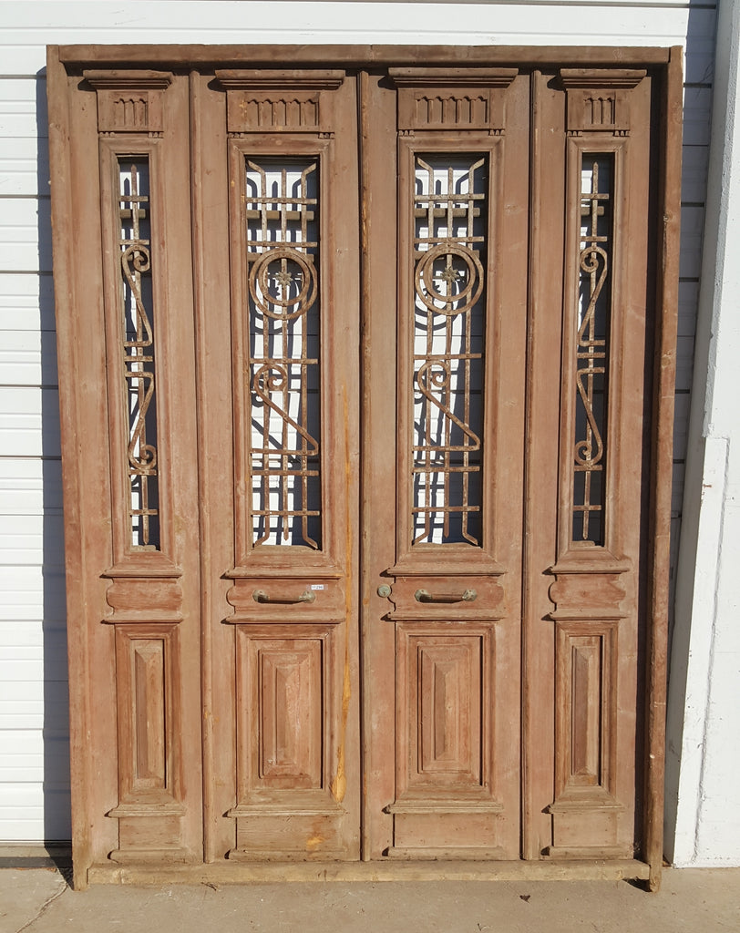 Set of 4 Doors with Red Painted Wood and Iron Panels