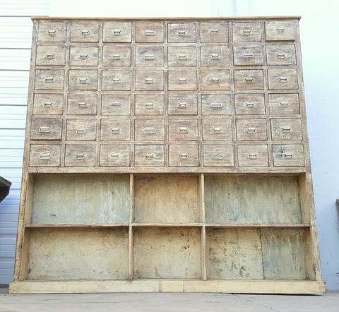 Wooden Chest with 48 Drawers and 6 Open Shelves