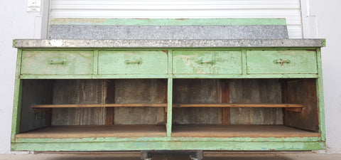 Wood and Iron Counter with 4 Drawers and Bottom Shelves