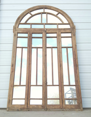 Arched Wooden Mirror with 35 Panes
