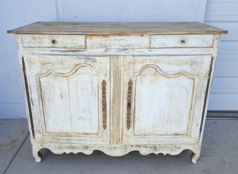 French Distressed White Sideboard