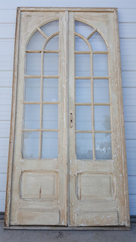 Wood Door with 8 Glass Panes Each, Arched Glass Design, Egypt