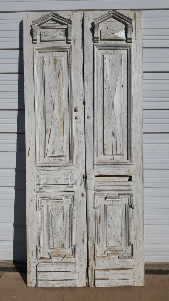 Pair of Painted Doors with 2 Panels and Pediment