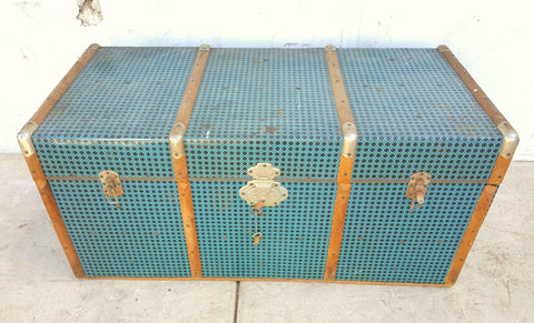 Blue Metal Hard Sided Trunk