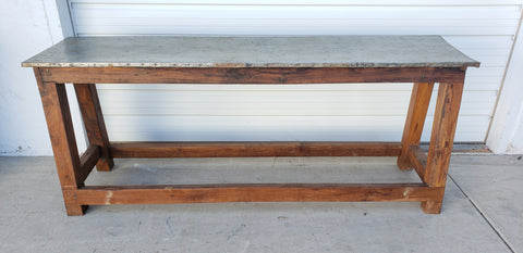 Wood Console Table with Iron Top