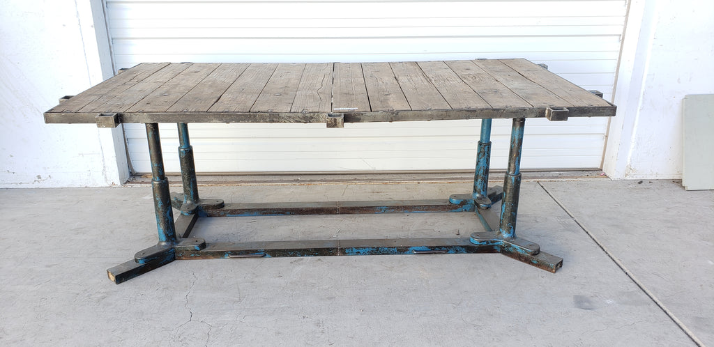 Industrial Table with Blue Legs