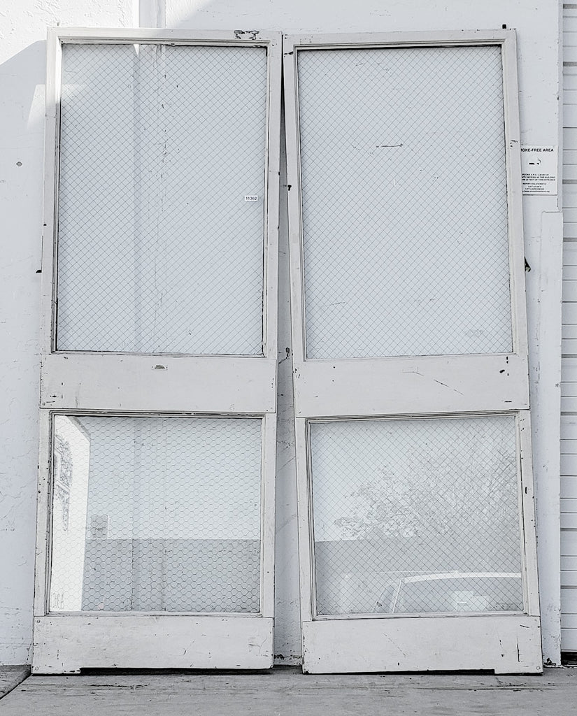 Pair of Classic Metal Frame and Chicken Wire Glass Doors