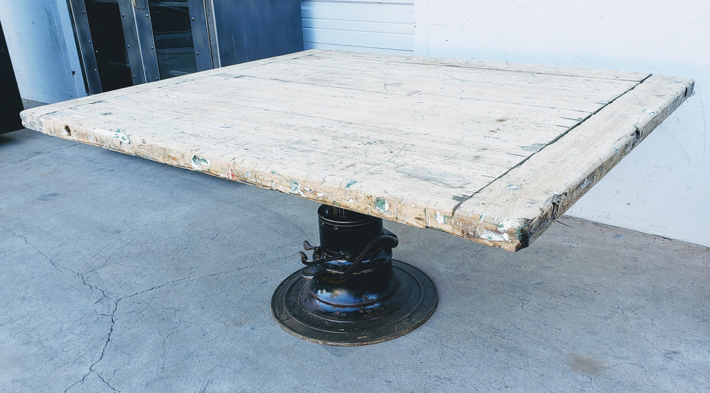 Table with Industrial Hydraulic Base
