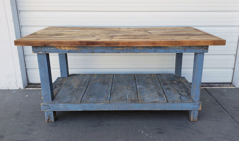 Blue Wood Workbench