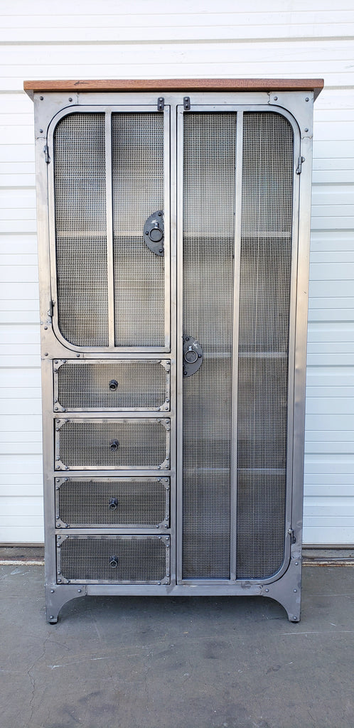 Industrial Steel Cabinet with Mesh Front