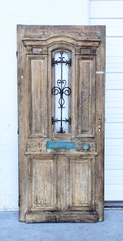 Wooden Door with Iron Insert, Belgium c. 1880