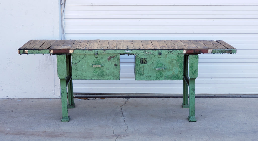 Green Work Table with 2 Drawers