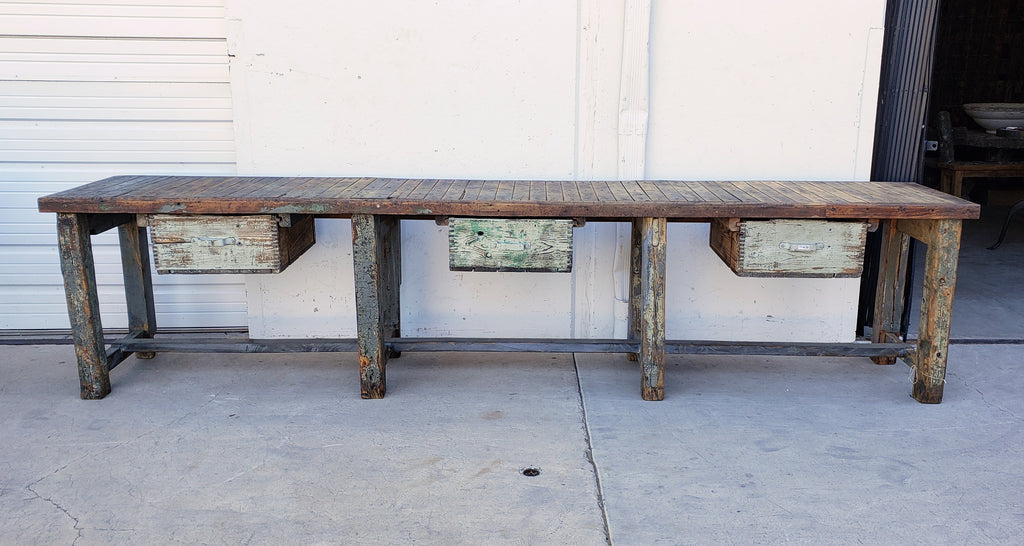 Industrial Wooden Work Table with 3 Drawers