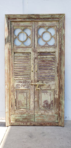 Pair of Wooden Doors in Frame with Flower Window