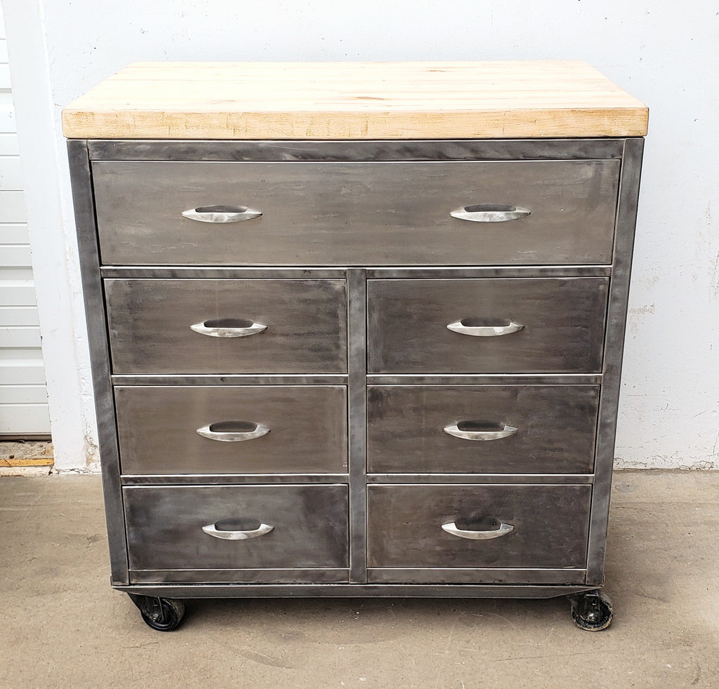 Stripped Metal Cabinet with Wood Top on Casters