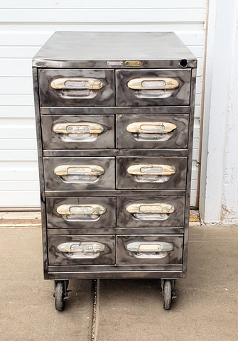 10 Drawer Stripped File Cabinet on Wheels