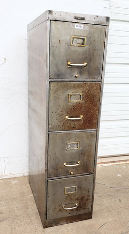 Stripped Stainless File Cabinet with Brass Pulls