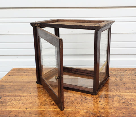 Small Antique Oak Display Cabinets