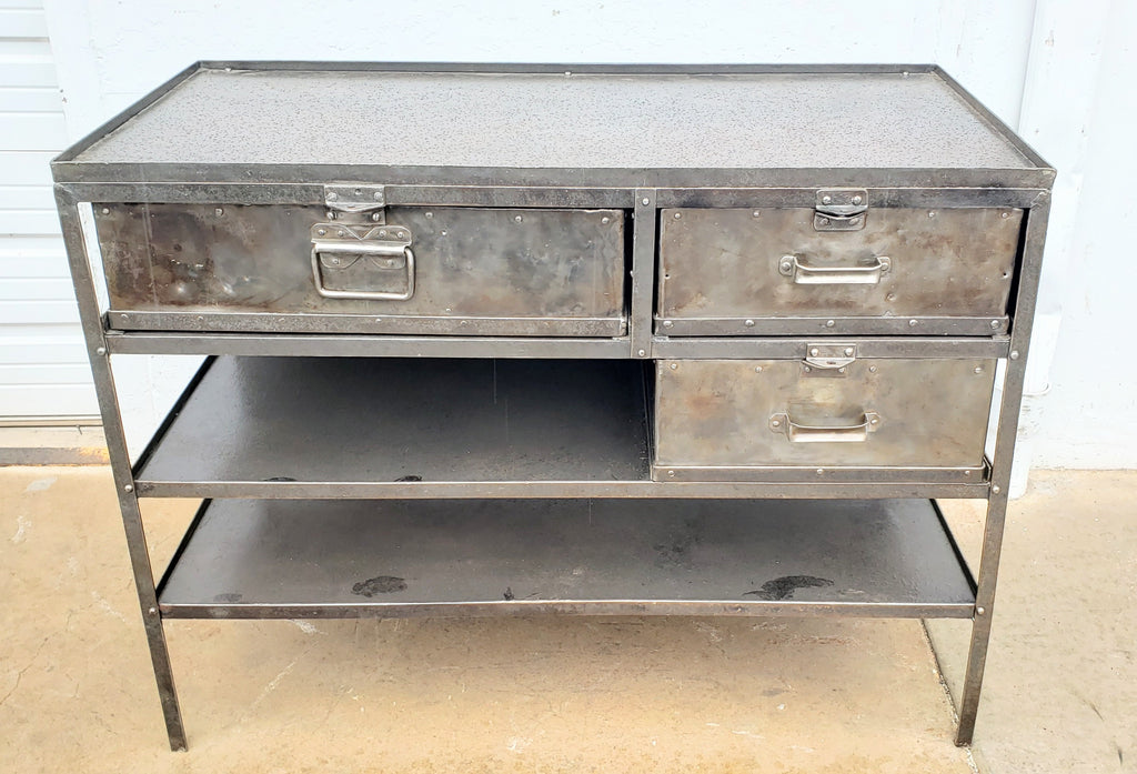 Industrial 3 Drawer Riveted Island Table