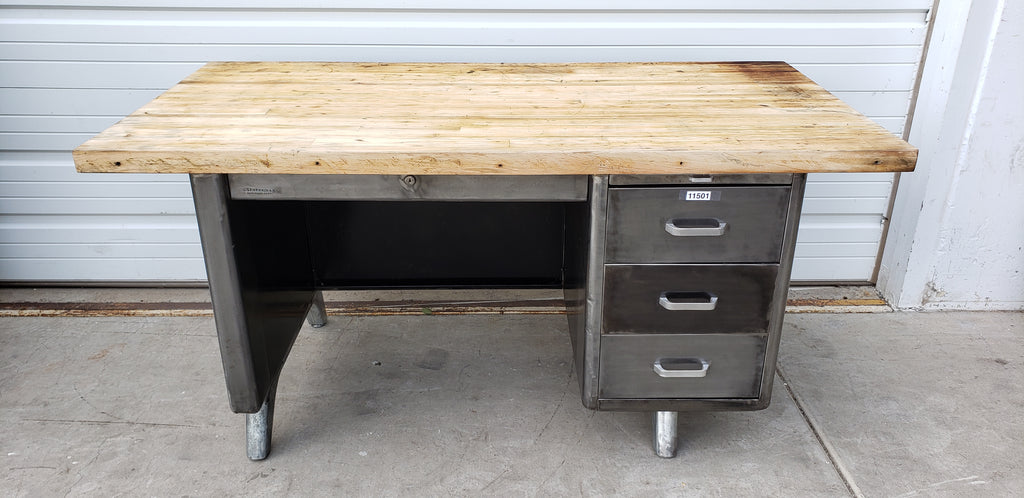"1940's Stripped ""Statesman"" Desk with Wooden Top"