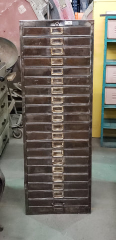 Stripped Stainless 20 Drawer File Cabinet
