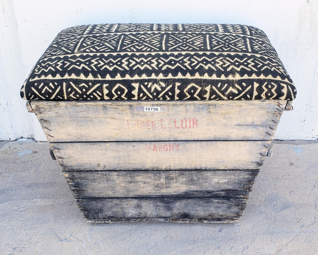 Brown African Print Champagne Crate Ottoman