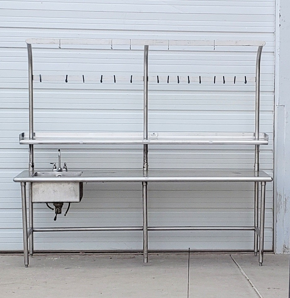 Stainless Steel Sink / Pot Rack Table