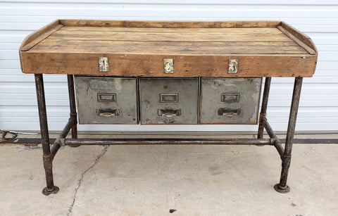 Metal Console / Work Table with 3 Drawers